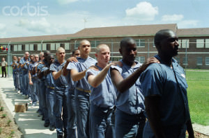 Bald Prison Inmates Marching in Yard